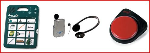 Go Talk communication device, personal amplifier with headphones, switch