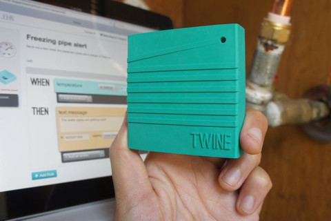 Twine device. Green colored rectangular cube sensor.
