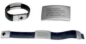 EPIC-id bracelet with a flash drive that carries health and identifying information in case of an emergency.