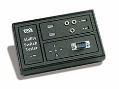 Picture of the ability switch tester. A small plastic box with ports to test switches in.