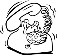 cartoon of rotary dial phone with a confused look on its face