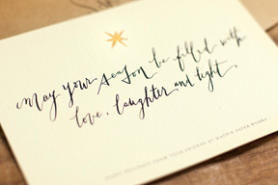 "Photo of Holiday Card with message, ""May Your season be filled with Love, Laughter, and Light."""