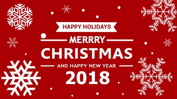 Red with white snowflakes. Reads Happy Holidays. Merry Christmas and Happy New Year 2018.
