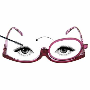Illustration of makeup glasses with one lense. An arrow indicates that the lense can be flipped to the other side.