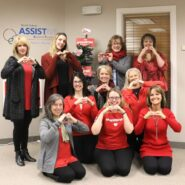 ND Assistive Staff all dressed in red for Giving Hearts Day 2018