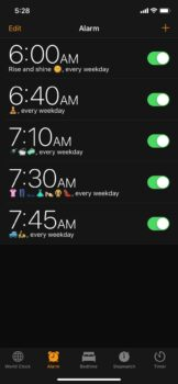 Screenshot of alarms. 5 alarms, 1 for each of 5 tasks.