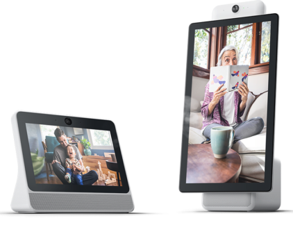 A photo of the small Facebook Portal, showing a man with a small child in his lap on the screen and a bigger Facebook Portal Plus with a woman reading a book on the screen.