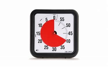 60 minute timer in the shape of a clock. Red covers the remaining 40 minutes.