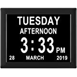 Day clock indicating date, day, time and morning or afternoon