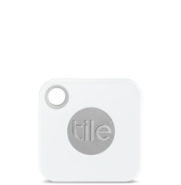 "Photo of small 1.5"" square white device with a hole to attach to key chain or purse"