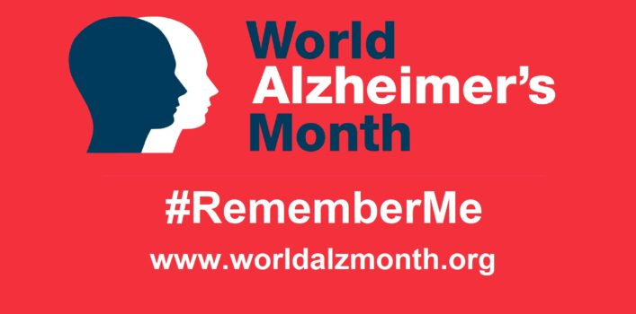 "Logo with ""World Alzheimer's Month"" #RememberMe and www.worldalzmonth.org"