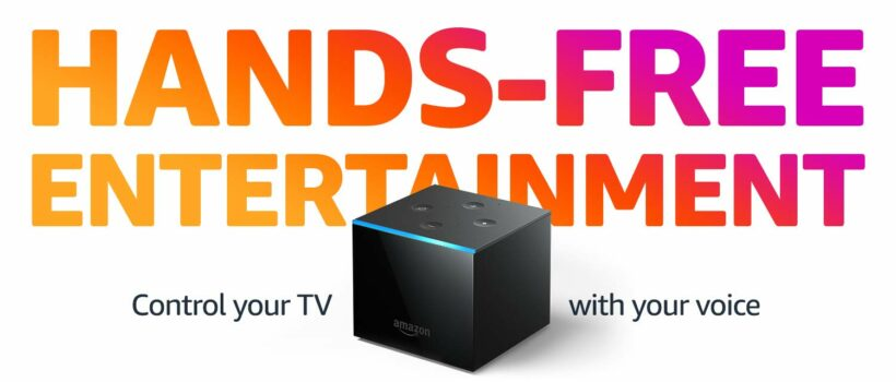 "Fire TV Cube with text stating ""hands-free entertainment. Control your TV with your voice."""