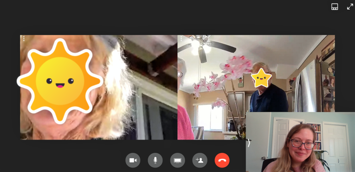 Screenshot of three-way video call